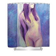 Purple Lady On Blue Shower Curtain