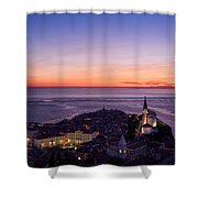 Purple Light On The Adriatic Sea After Sundown With Lights On Pi Shower Curtain