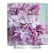 Purple Lilacs With Text Shower Curtain