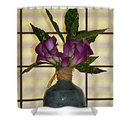 Purple Lilies In Japanese Vase Shower Curtain