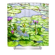 Purple Lotus Flower  Shower Curtain