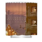 Purple Mine Town Shower Curtain