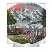 Purple Mountain Lake Shower Curtain