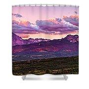 Purple Mountain Sunset Shower Curtain