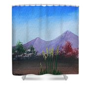 Purple Mountains In The Summer Shower Curtain