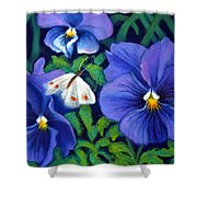 Purple Pansies And White Moth Shower Curtain