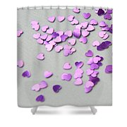 Purple Scattered Hearts I Shower Curtain