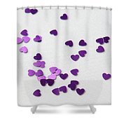 Purple Scattered Hearts II Shower Curtain