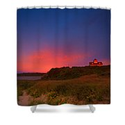 Purple Sky Over Coast Guard Eastham Shower Curtain