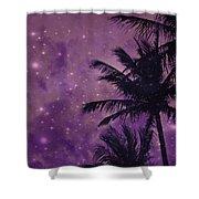 Purple Sky Palm Shower Curtain