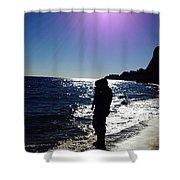 Purple Sun Evening Beach Shower Curtain