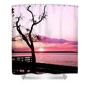 Purple Coastal Sunset Shower Curtain