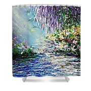 Purple Tree By The Lake Shower Curtain