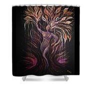 Purple Tree Goddess Shower Curtain