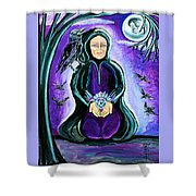 Purple Wise Woman Of The Sacred Raven Shower Curtain