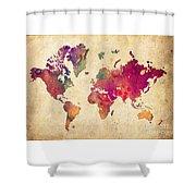 Purple World Map Watercolor Print  Shower Curtain