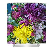 Purple Yellow Flower Mix Shower Curtain