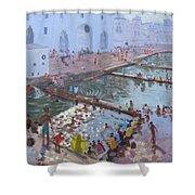 Pushkar Ghats Rajasthan Shower Curtain