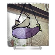 Pussy Cat Eggplant Shower Curtain