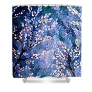 Pussy Willow Abstract Shower Curtain