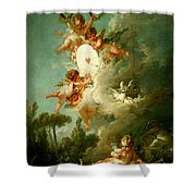 Putti Shooting At A Target Shower Curtain