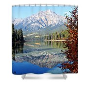 Pyramid Mountain Reflection 3 Shower Curtain by Larry Ricker