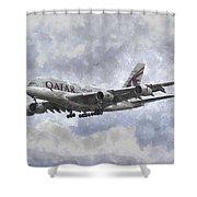 Qatar Airlines Airbus And Seagull Escort Art Shower Curtain