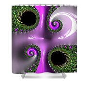Quadruple Green And Pink Shower Curtain