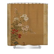 Quail Under Autumn Flowers Shower Curtain