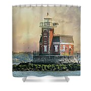 Quaint Stepping Stones Lighthouse Shower Curtain