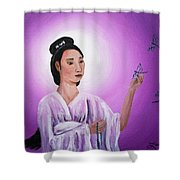 Quan Yin With Three Dragonflies Shower Curtain