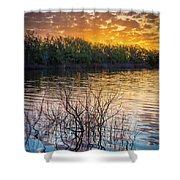 Quanah Parker Lake Sunrise Shower Curtain