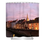 Quayside Rosy Sunlight Shower Curtain