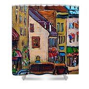 Quebec City Street Scene  Caleche Ride Shower Curtain