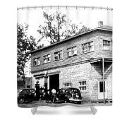 Quebec Garage 1940s Shower Curtain