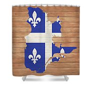 Quebec Rustic Map On Wood Shower Curtain