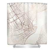 Quebec Street Map Colorful Copper Modern Minimalist Shower Curtain
