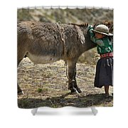 Quechua Girl Hugging His Donkey. Republic Of Bolivia. Shower Curtain