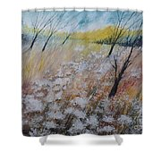 Queen Anne's Lace, Gouache Painting Shower Curtain