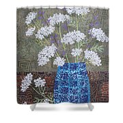 Queen Anne's Lace In Blue Vase Shower Curtain