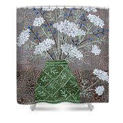 Queen Anne's Lace In Green Vase Shower Curtain