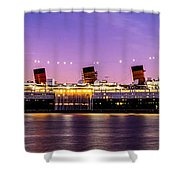 Queen Mary At Dusk_pano Shower Curtain