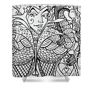 Queen Of Spades Close Up With Dragon Shower Curtain by Jani Freimann