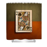 Queen Of Spades In Wood Shower Curtain