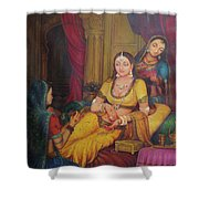 Queen Princess Sitting  Dressing From Her Maids Kaneej  Royal Art Oil Painting On Canvas Shower Curtain