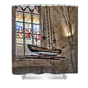 Quelven Church, Brittany, France, Ship Shower Curtain