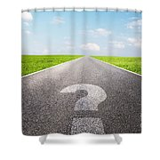 Question Mark Symbol On Long Empty Straight Road Shower Curtain