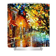 Quiet Corner-garden On The Stones - Palette Knife Oil Painting On Canvas By Leonid Afremov Shower Curtain