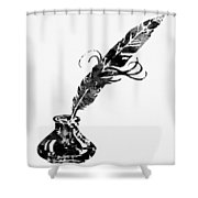 Quill And Ink-black Shower Curtain