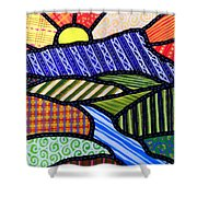 Quilted Mountain Sunrise Shower Curtain